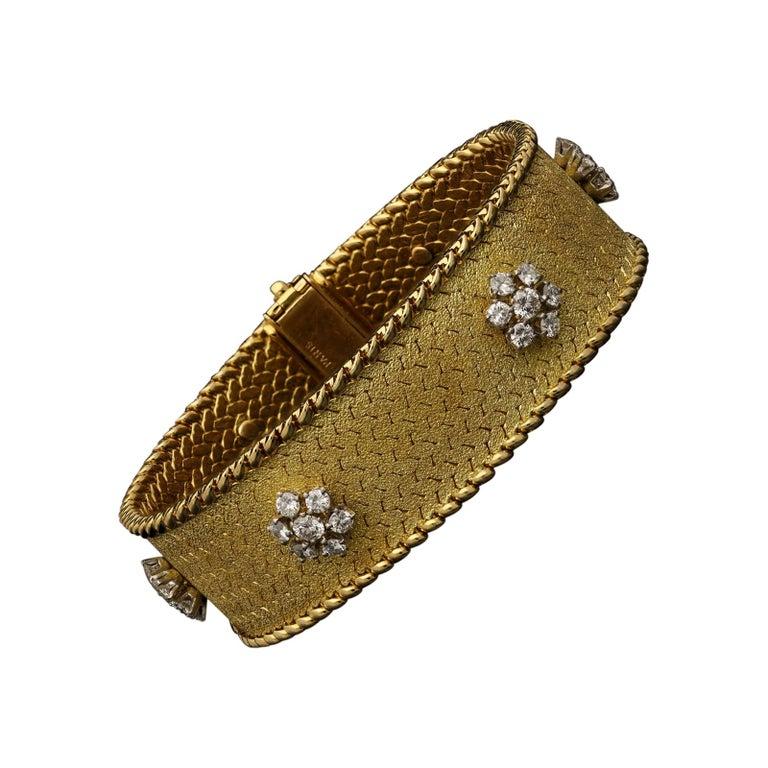 Georges Lenfant Diamond Cluster 18 Carat Gold Bracelet, circa 1965 For Sale