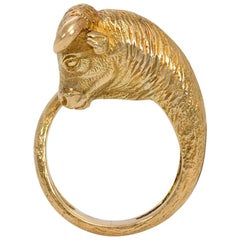 Georges L'Enfant for Tiffany & Co. 1960s Textured Gold Bull Form Ring