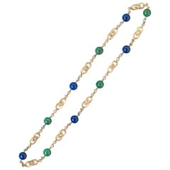 Georges Lenfant Gold Sautoir with Lapis and Zoisite Balls