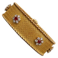 Georges Lenfant Ruby and Diamond Cluster 18 Carat Gold Bracelet, circa 1965