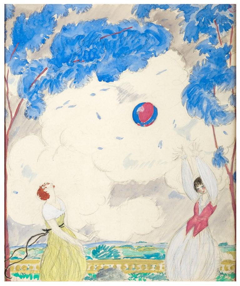 Georges Lepape Figurative Art - Le Ballon - Original Mixed Media by Lepape