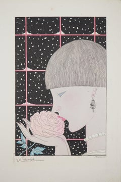 Art Deco, Woman with a Rose - Original etching