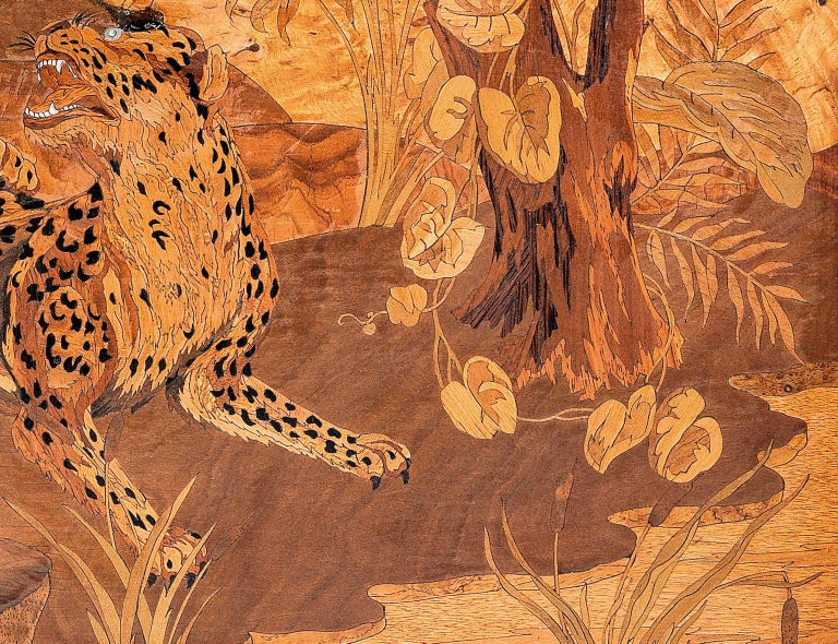 French Georges Lucien Guyot a Wood, Ivorine and Abalone Marquetry P For Sale