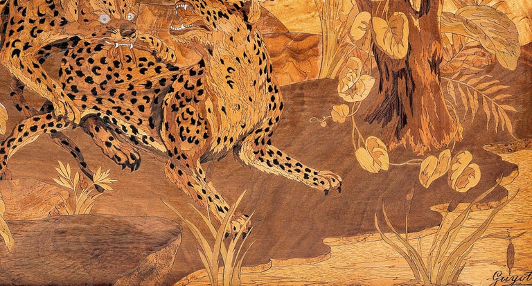 20th Century Georges Lucien Guyot a Wood, Ivorine and Abalone Marquetry P For Sale