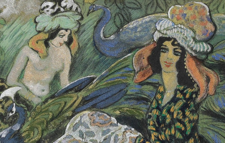 Femmes au Paon, Mixed Media with Gouache on Paper, circa 1910 For Sale 1