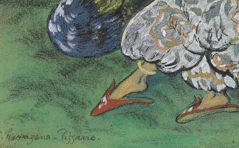 Femmes au Paon, Mixed Media with Gouache on Paper, circa 1910 For Sale 2