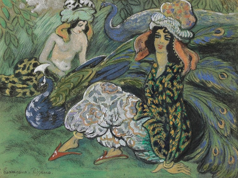 Femmes au Paon, Mixed Media with Gouache on Paper, circa 1910 - Mixed Media Art by Georges Manzana Pissarro