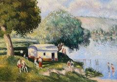 La Plage aux Andelys, Oil on Board by Georges Manzana Pissarro