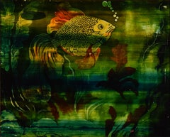 Poisson d'Or, Oil and Enamel Paint on Panel, circa 1920