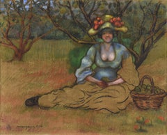 Récolte des Pommes, Mixed Media on Board by Georges Manzana Pissarro, 1906