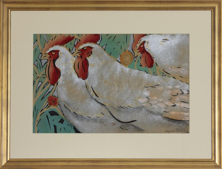 Three Cockrels, Pochoir Painting by Georges Manzana Pissarro For Sale 1