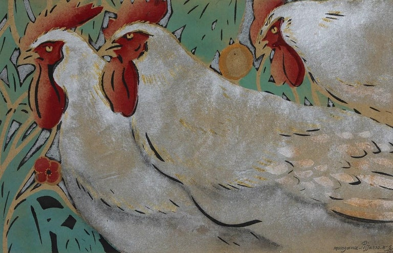 Three Cockrels by Georges Manzana Pissarro (1871 - 1961) 29 x 45.6 cm (11 ³/₈ x 18 inches) Pochoir Signed Manzana Pissarro and numbered lower left, 5/100  This work is accompanied by a certificate of authenticity from the artist.    Artist