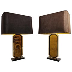 Georges Mathias 23-Karat Gold Etched Table Lamps, Set of 2, 1970s