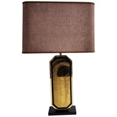 Georges Mathias Brass Etched Table Lamp, 1970s