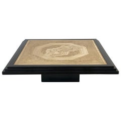 Georges Mathias Coffee Table in Black Lacquered and Etched Brass, Unique Piece