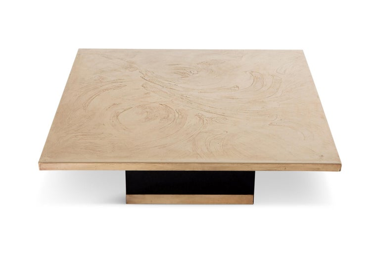 Hollywood Regency Georges Mathias Coffee Table in Etched Brass For Sale