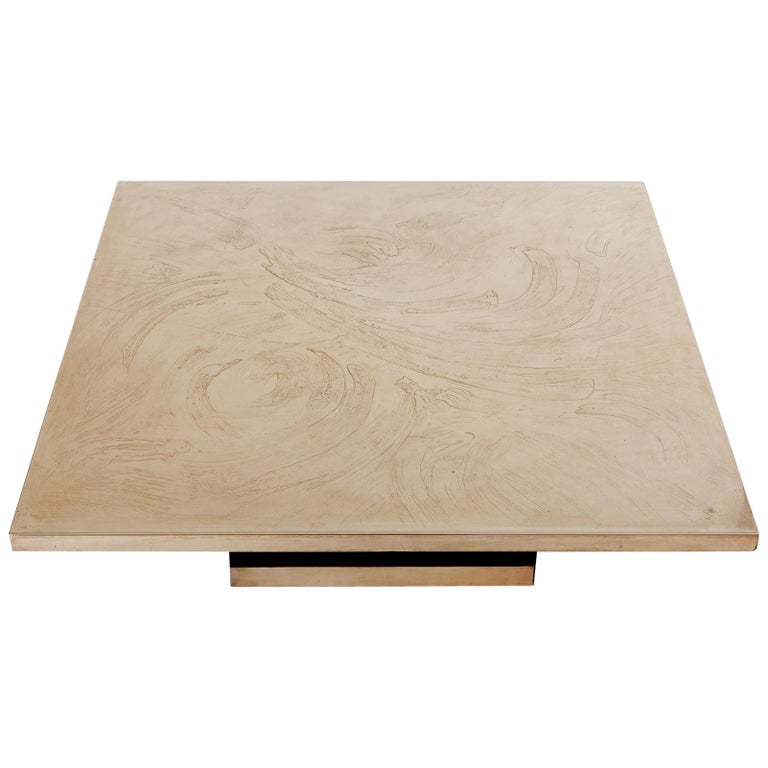 Georges Mathias Coffee Table in Etched Brass For Sale