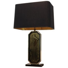 Georges Mathias Signed 23-Carat Gold-Plated Handmade Etched Table Lamp