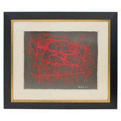 """Georges Mathieu Abstract 1952 Tachism """"Tubism"""" Painting on Paper"""