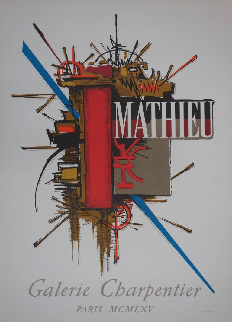 Georges Mathieu Abstract Print - Abstract Symbols - original lithograph - Mourlot 1965