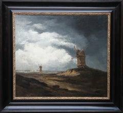 Montmartre Windmills Paris - French art 19th century landscape oil painting