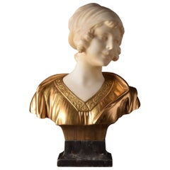 Georges Morin 'Germany', Bust of a girl, Alabaster, Bronze, Marble, circa 1900