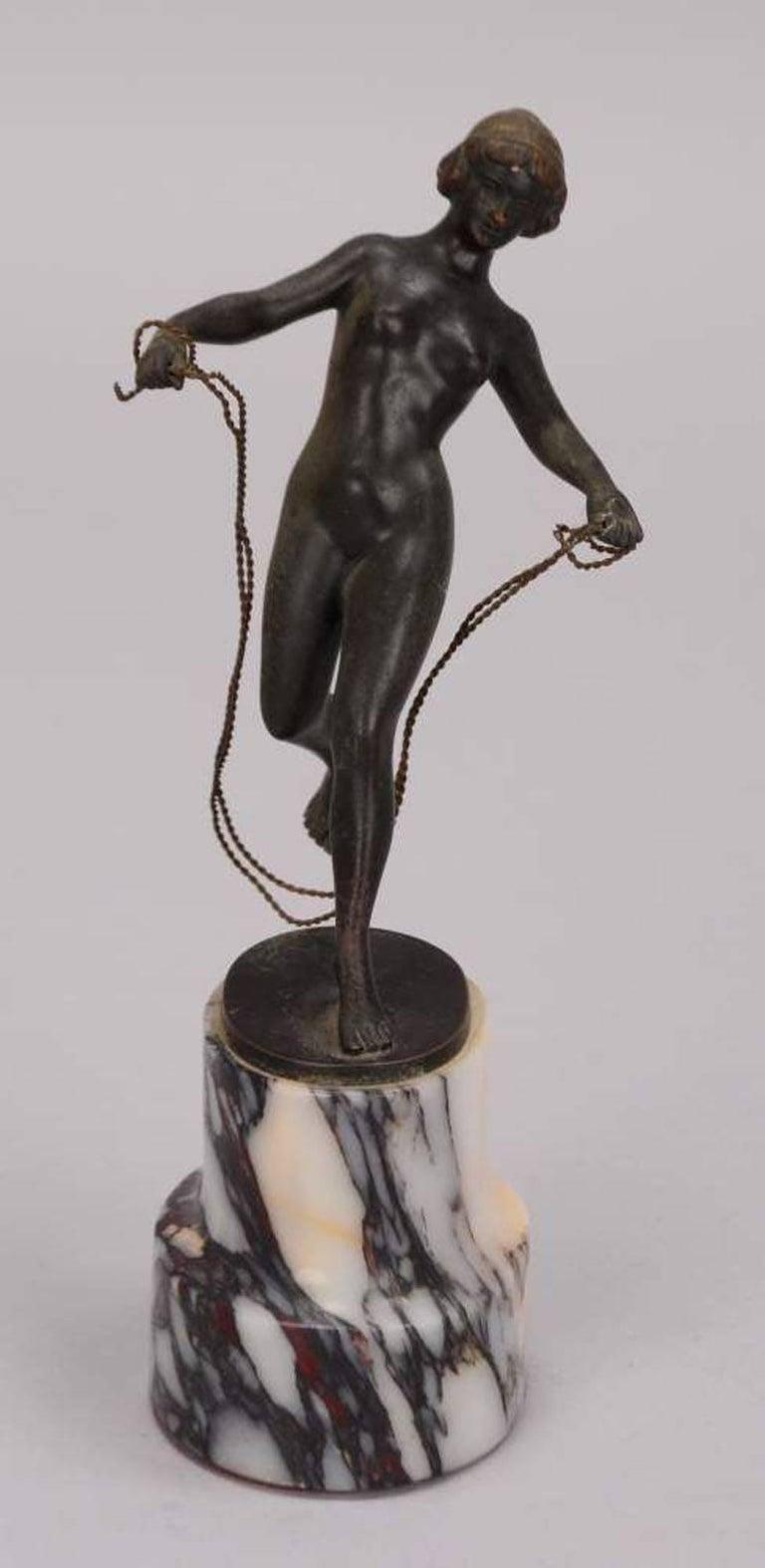 Georges Morin Nude Sculpture - Seilspringerin (Jump Roping Woman) - Bronze, Sculpture, Jugendstil, German, 20th