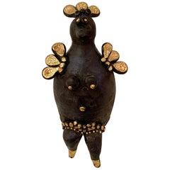 Georges Pelletier Black and Gold Enameled Ceramic Hen Sculpture, France, 2020