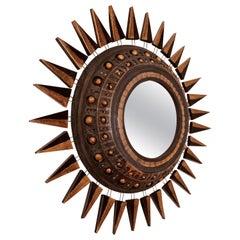 Georges Pelletier Mirror in Bluish Black, Gold and Platinum Enameled Ceramic