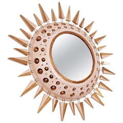 Georges Pelletier Mirror in White and Gold Enameled Ceramic