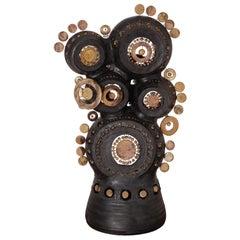 Georges Pelletier Sculpture Lamp in Bluish Black & Gold Enameled Ceramic