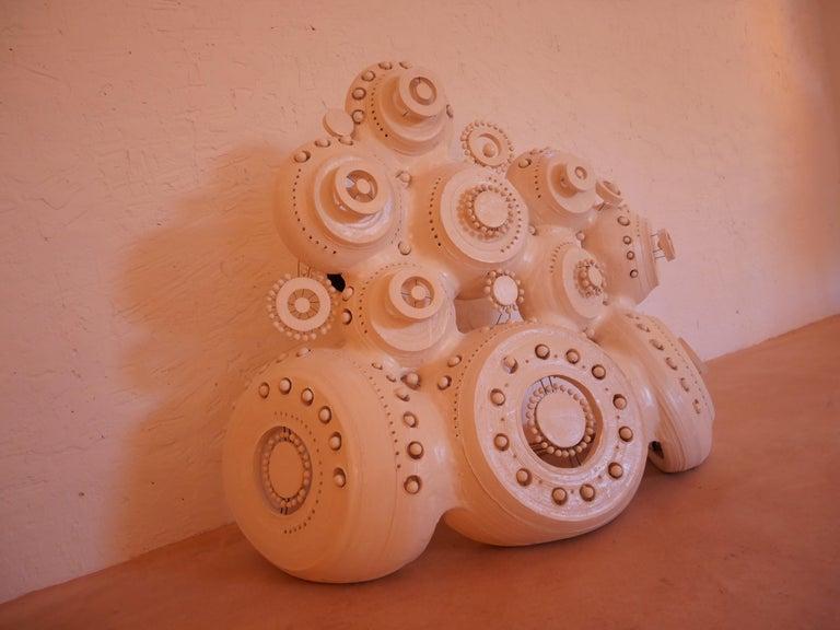 Georges Pelletier Sculpture Lamp in White Enameled Ceramic In New Condition In Santa Gertrudis, Baleares