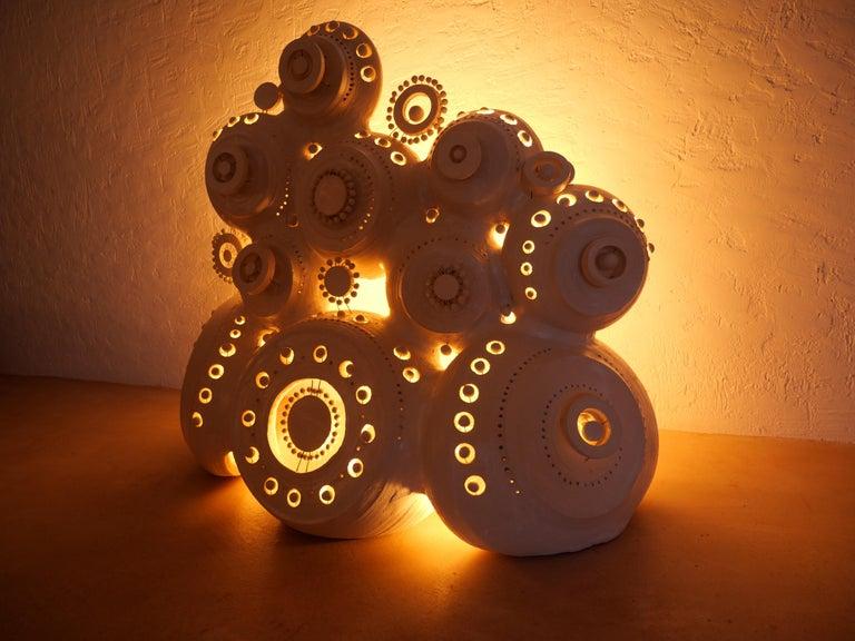 Georges Pelletier Sculpture Lamp in White Enameled Ceramic 1