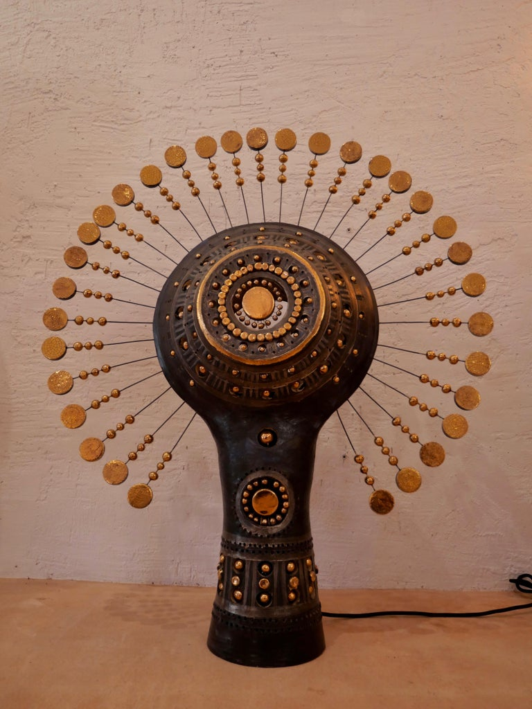 French Georges Pelletier Sun Lamp in Bluich Black, Gold and Platinum Enameled Ceramic For Sale