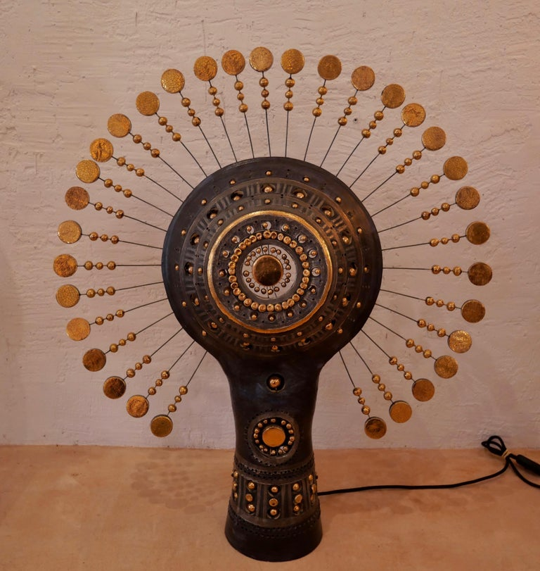 Georges Pelletier Sun Lamp in Bluich Black, Gold and Platinum Enameled Ceramic In New Condition For Sale In Santa Gertrudis, Baleares