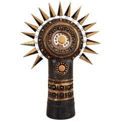 Georges Pelletier Sun Table Lamp in Bluish Black Gold & Platine Enameled Ceramic