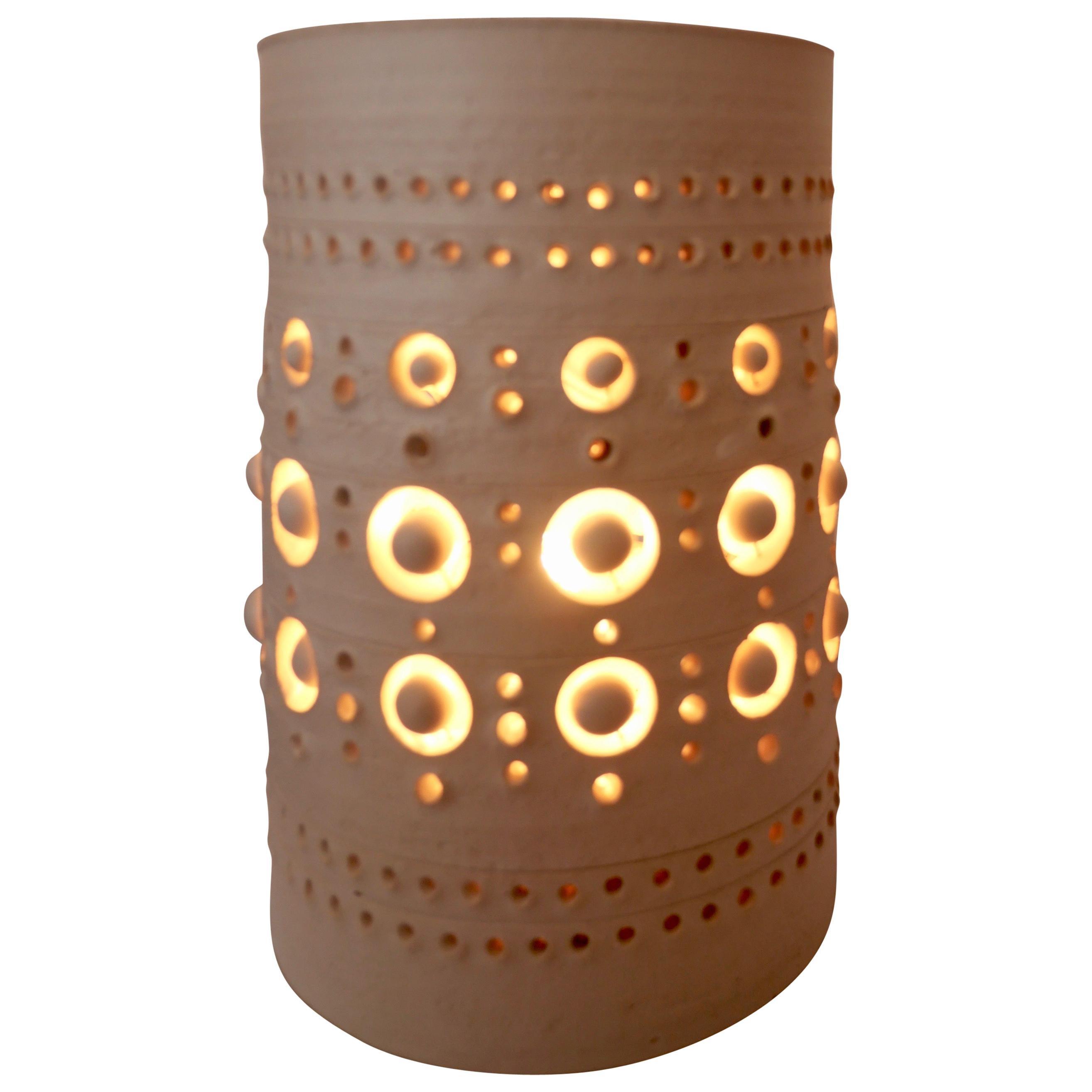 Georges Pelletier TOTEM Table Lamp, White Enamelled Ceramic, France, 2020