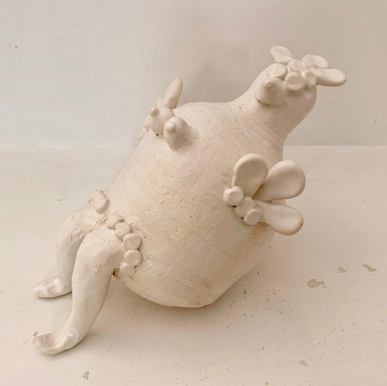 Georges Pelletier White Enameled Ceramic Hen Sculpture, France, 2020 In New Condition For Sale In Santa Gertrudis, Baleares