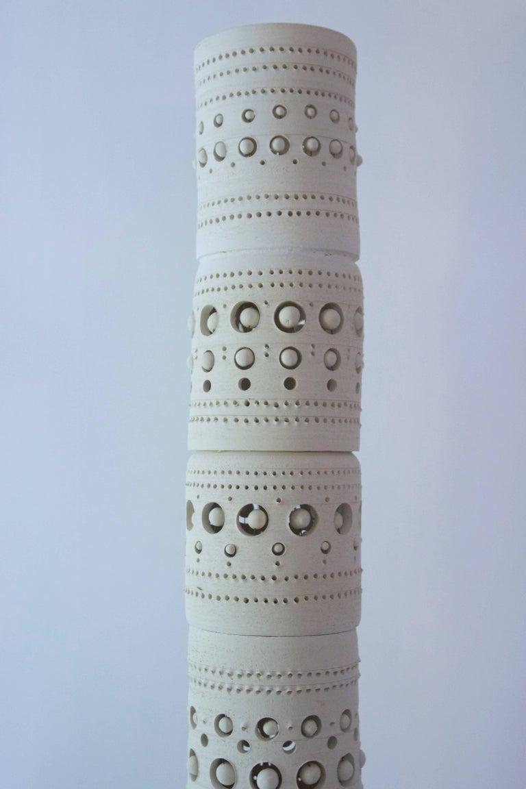 Mid-Century Modern Georges Pelletier, TOTEM Floor Lamp, Unglazed Ceramics, circa 1970, France For Sale