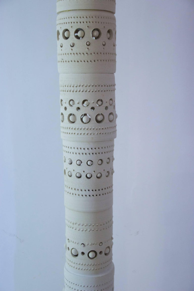 French Georges Pelletier, TOTEM Floor Lamp, Unglazed Ceramics, circa 1970, France For Sale