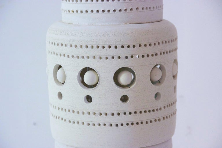 Late 20th Century Georges Pelletier, TOTEM Floor Lamp, Unglazed Ceramics, circa 1970, France For Sale