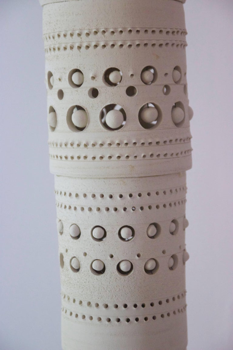 Georges Pelletier, TOTEM Floor Lamp, Unglazed Ceramics, circa 1970, France For Sale 1