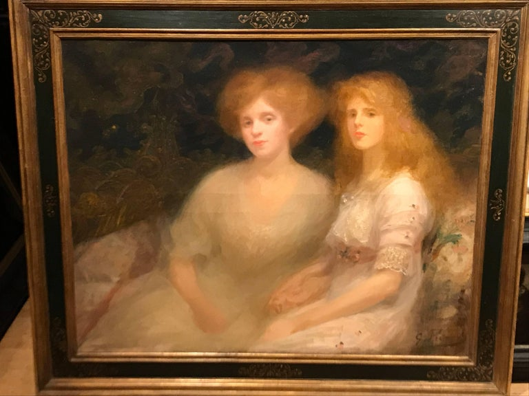 20th Century Oil Painting Impressionist Portrait of Mother and Daughter - Brown Portrait Painting by Georges Picard