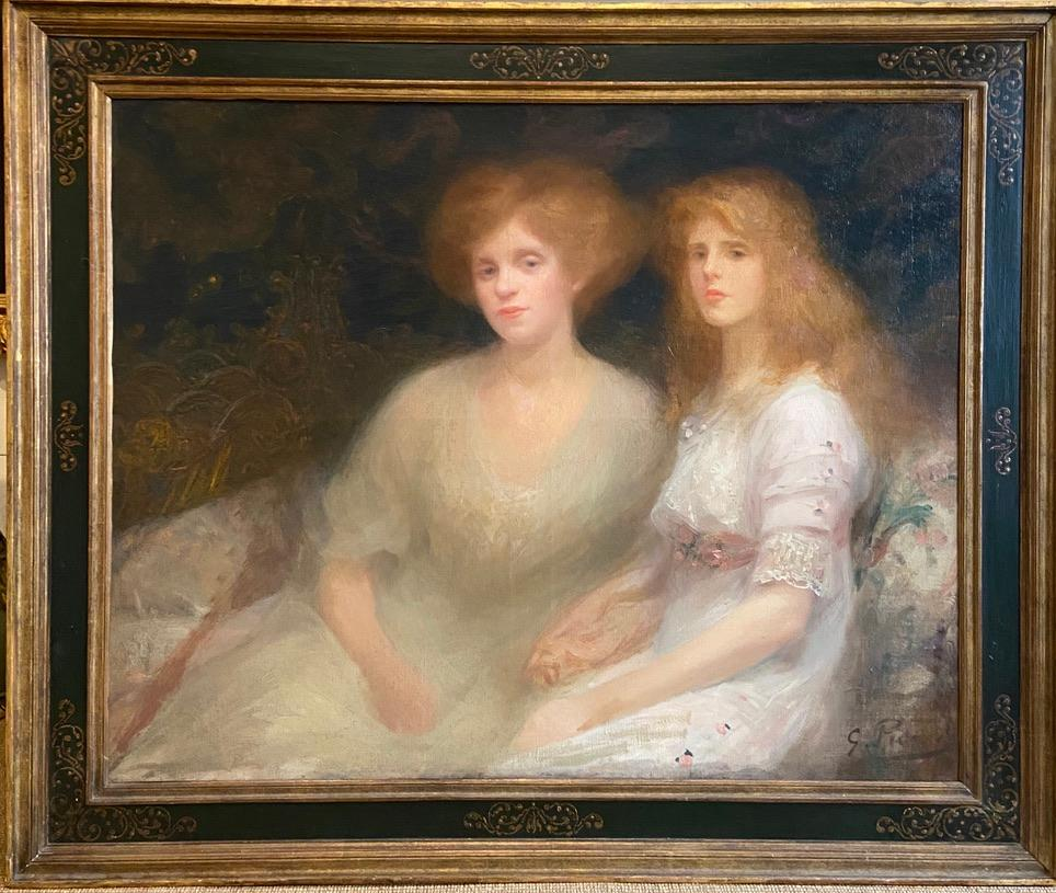 20th Century Oil Painting Impressionist Portrait of Mother and Daughter