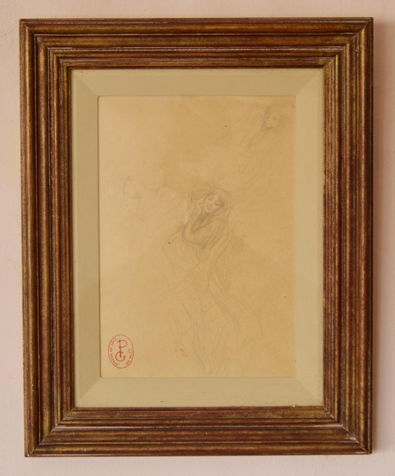 Two Girls Illustration - Late 19th Century Sketch by Georges PIcard For Sale 1