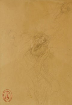 Two Girls Illustration - Late 19th Century Sketch by Georges Picard