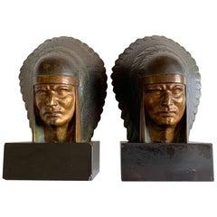 Georges-Raoul Garreau Art Deco Pair Bronze Native American Chiefs
