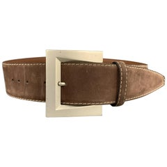 GEORGES RECH 28 Taupe Brown Suede Contrast Stitch Belt