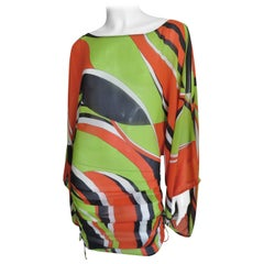 Georges Rech Cut out Sleeves Silk Pucci Print Dress 1970s