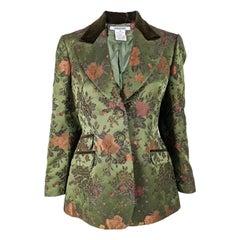 Georges Rech Green Floral Satin Jacquard & Velvet Blazer Jacket